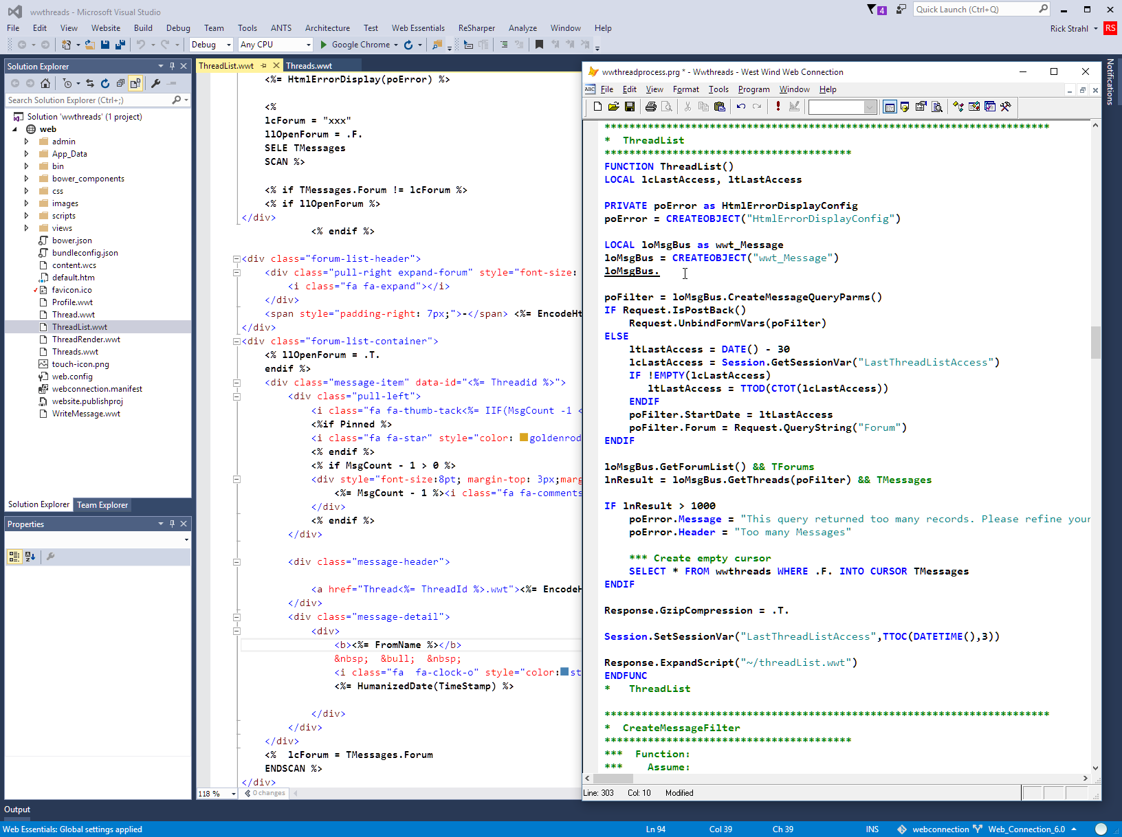 Visual Studio offers templates and an add-in to jump to FoxPro code.