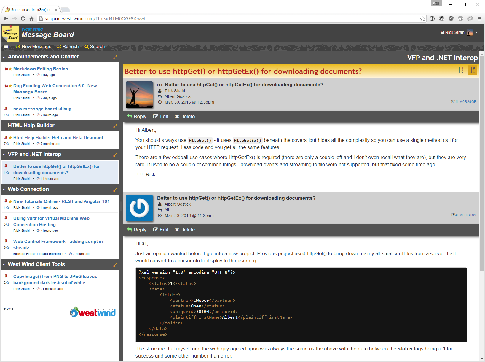 The message board is an example of an a rich, mobile ready MVC style application.