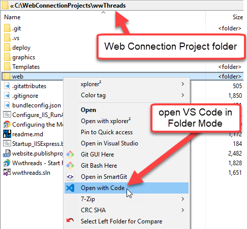 Open your Web Project in VsCode - West Wind Web Connection