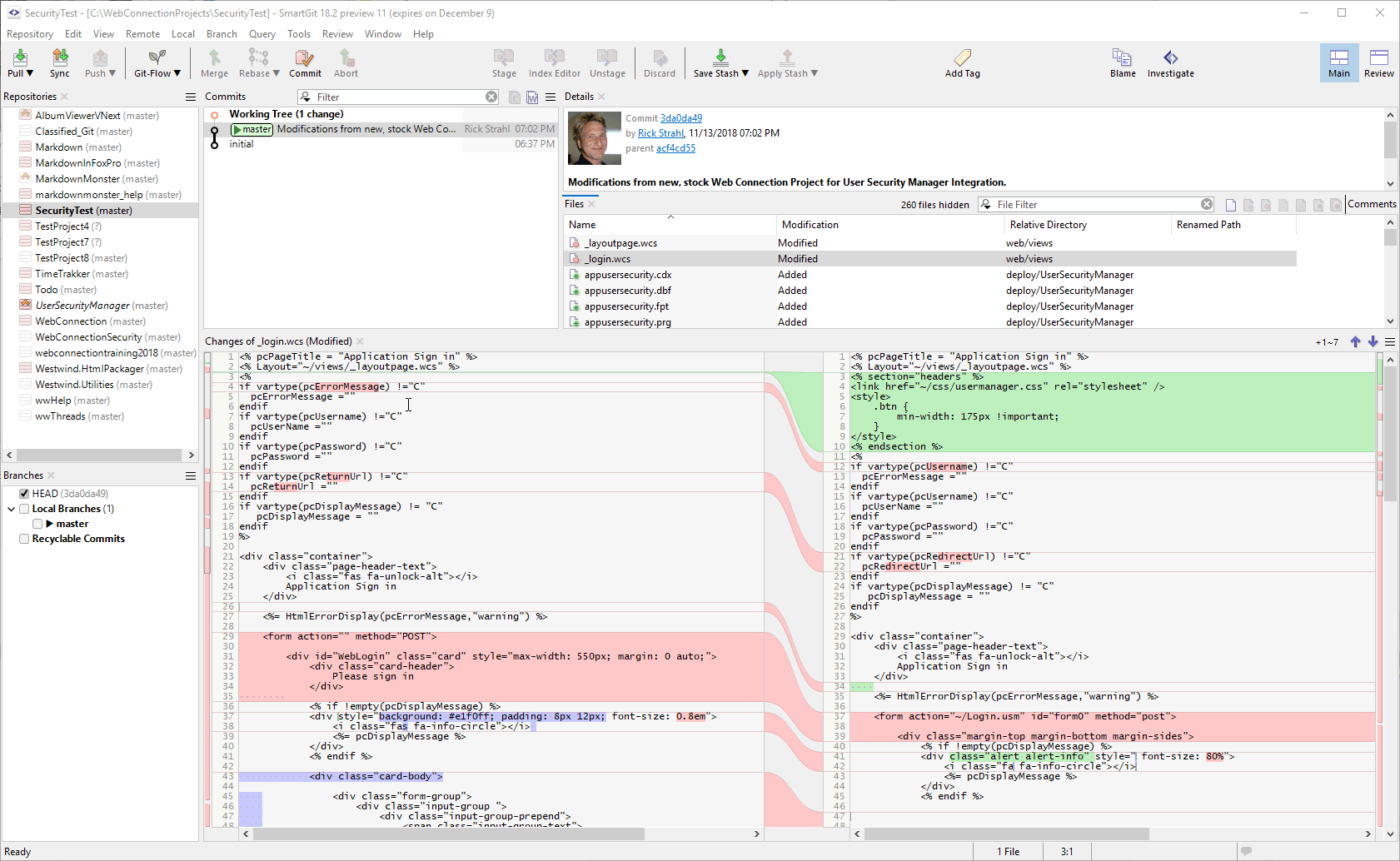 Seeing all the changes from a Stock Project with Git - Web